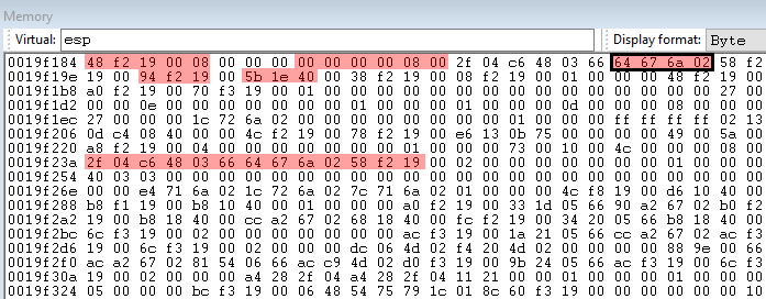 stack in a hex editor